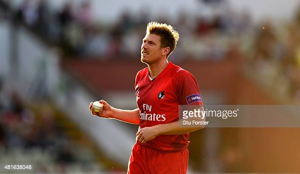 Lancashire bowler James Faulkner looks on during the NatWest T20 blast match between Birmingham Bears and Lancashire Lightning at Edgbaston on July...