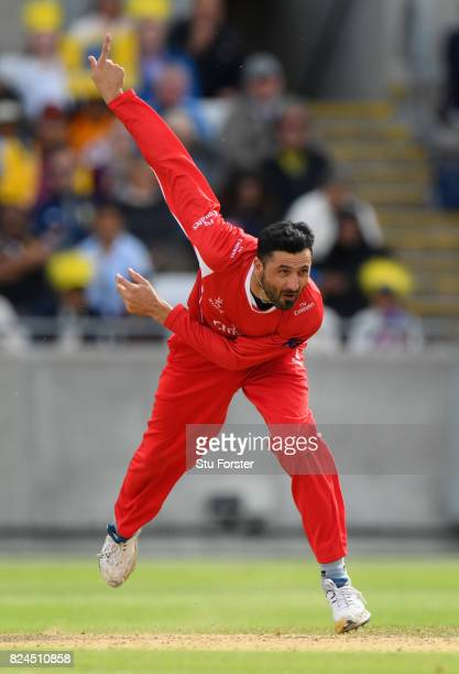Lancashire bowler Junaid Khan in action during the Natwest T20 Blast match between Birmingham Bears and Lancashire Lightning at Edgbaston on July 30...