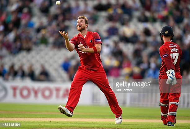 Lancashire bowler Steven Croft celebrates after dismissing Brendon McCullum during the NatWest T20 blast match between Birmingham Bears and...