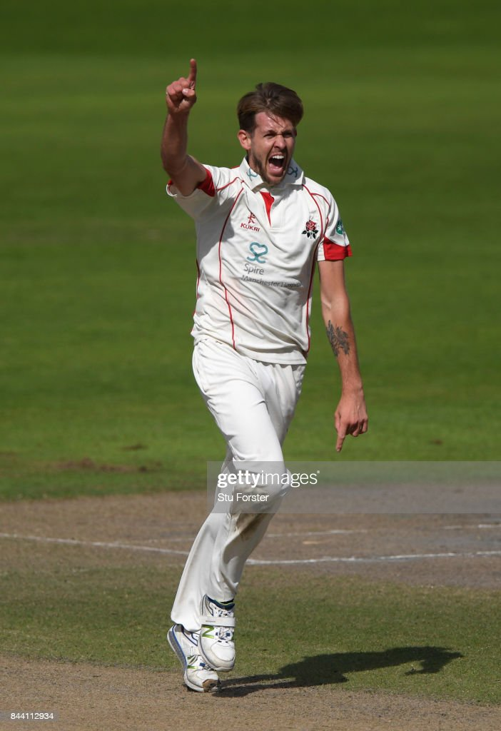 Lancashire bowler Tom Bailey celebrates after bowling James Foster during day four of the Specsavers County Championship Division One match between Lancashire and Essex at Old Trafford on September 8, 2017 in Manchester, England.