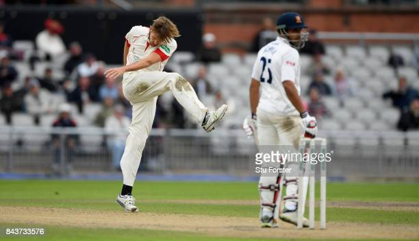 Lancashire bowler Tom Bailey reacts after Essex batsman Ravi Bopara is dropped in the slips off his bowling during day three of the Specsavers County...