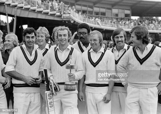 Lancashire captain David Lloyd celebrates with his teammates after Lancashire beat Middlesex by 7 wickets in the Gillette Cup Final at Lord's Cricket...