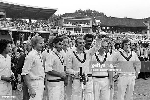 Lancashire captain David Lloyd lifts the Gillette Cup after Lancashire won the Gillette Cup Final between Lancashire and Middlesex at Lord's Cricket...