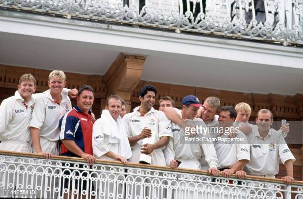Lancashire captain Wasim Akram stands with his team on the pavilion balcony after Lancashire won the NatWest Bank Trophy Final between Derbyshire and...