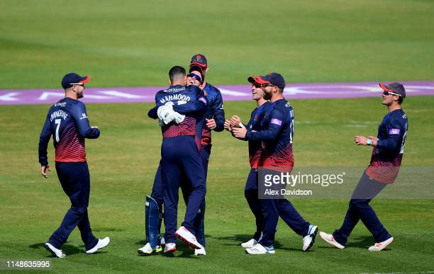 Lancashire celebrate the wicket of Sam Northeast during the Royal London One Day Cup SemiFinal match between Hampshire and Lancashire at the Ageas...