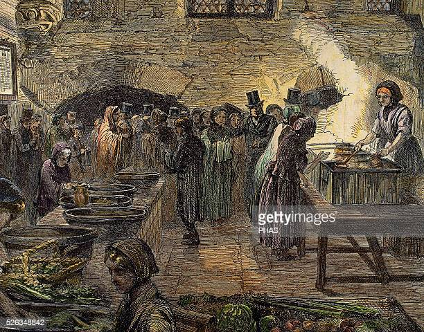 Lancashire Cotton Famine Depression in the textile industry of North West England People waiting for food Soup kitchen Engraving colored