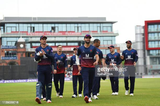 Lancashire players during the Royal London One Day Cup match between Lancashire and Northamptonshire at Emirates Old Trafford on April 24 2019 in...