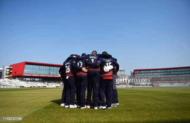Lancashire players have a team huddle before the Royal London One Day Cup match between Lancashire and Worcestershire at Emirates Old Trafford on...