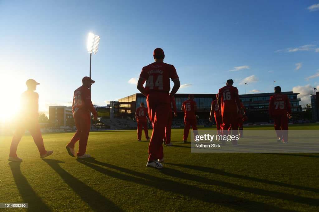 Lancashire players make their way to the field during the Vitality Blast match between Lancashire Lightning and Birmingham Bears at Old Trafford on August 10, 2018 in Manchester, England.