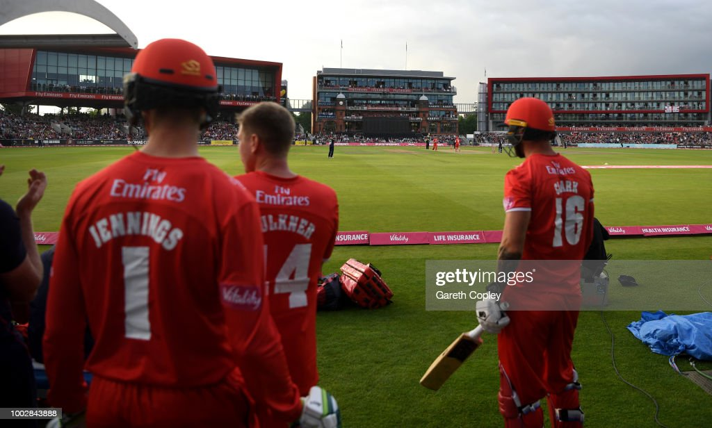 Lancashire players watch for the dug out during the Vitality Blast match between Lancashire Lighting and Yorkshire Vikings at Old Trafford on July 20, 2018 in Manchester, England.