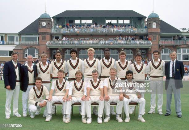 Lancashire squad line up for a team photo before the Benson and Hedges Cup Semi Final between Lancashire and Somerset at Old Trafford Manchester 13th...