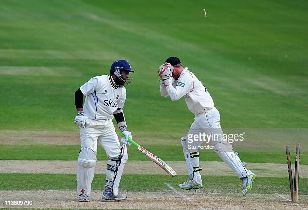 Lancashire wicketkeeper Gareth Cross celebrates after he had stumped Warwickshire batsman Mohammad Yousuf during day three of the Division One LV...