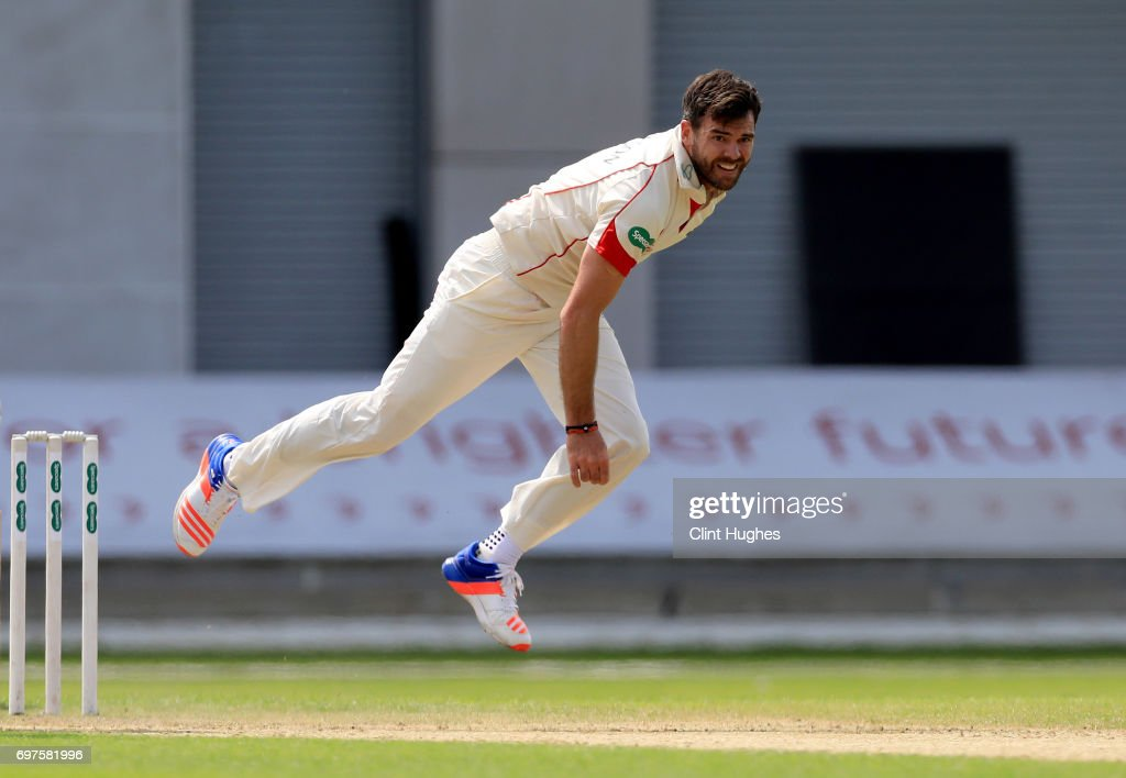 Lancashire's James Anderson bowls during day one of the Specsavers County Championship game at Old Trafford on June 19, 2017 in Manchester, England.