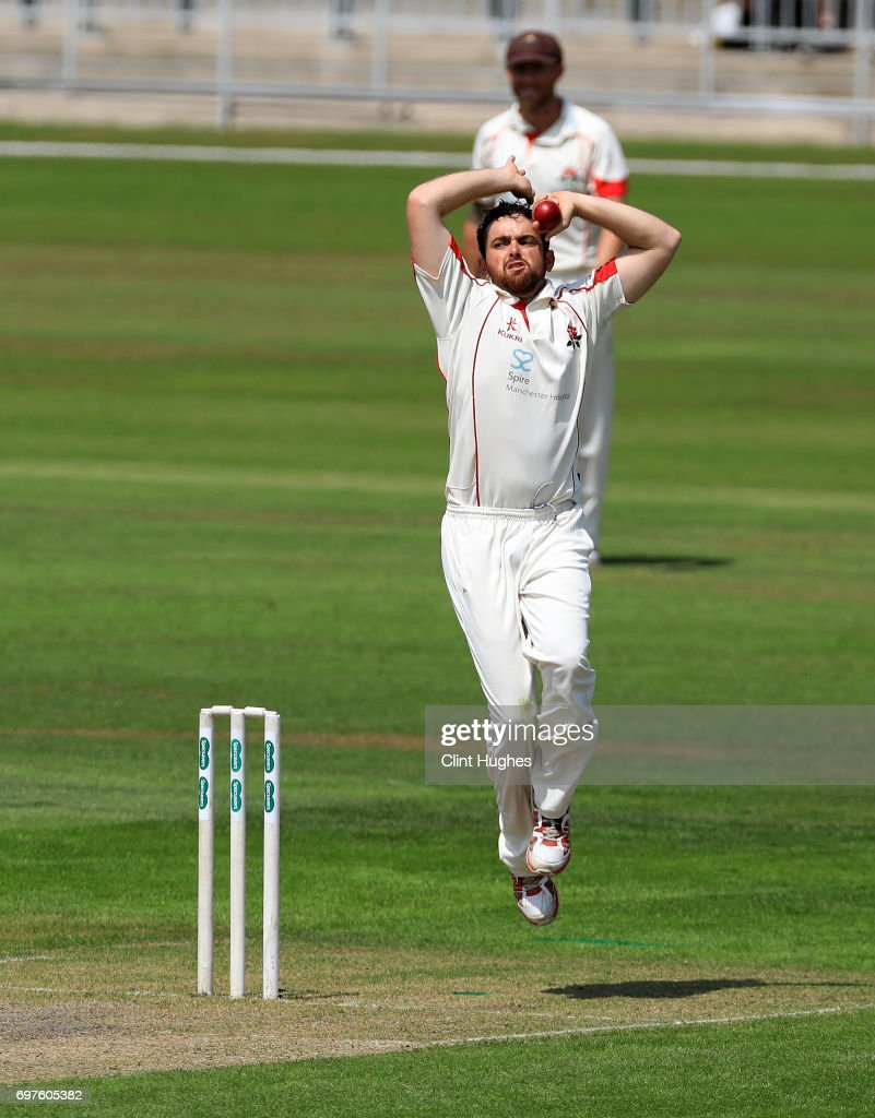 Lancashire's Stephen Parry bowls during day one of the Specsavers County Championship game between Lancashire and Hampshire at Old Trafford on June 19, 2017 in Manchester, England.