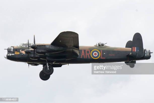 Lancaster bomber from the Battle of Britain Memorial Flight performs during the the International Air Tattoo at RAF Fairford on July 21 2019 in...