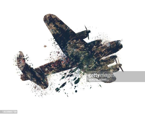 lancaster bomber illustration - lancaster bomber stock pictures, royalty-free photos & images