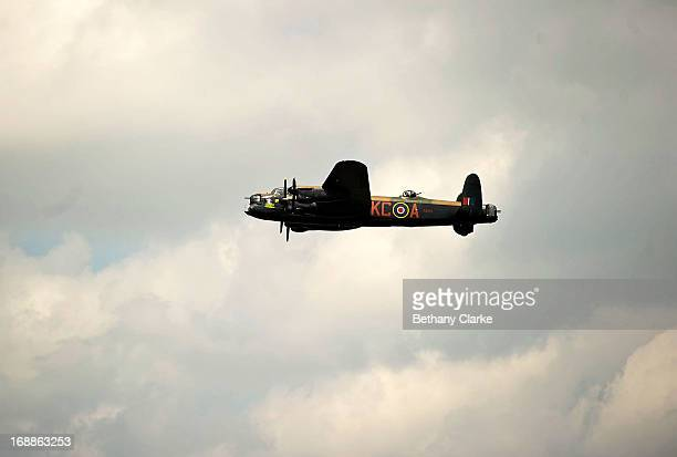 Lancaster bomber takes off from RAF Scampton on May 16 2013 in Lincoln England Ladybower and Derwent reservoirs were used by the RAF's 617 Squadron...