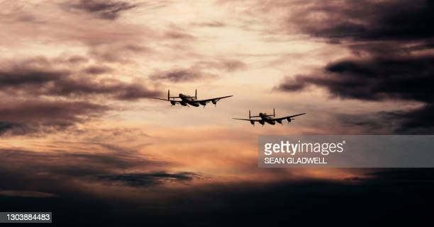 lancaster bombers in flight - lancaster bomber stock pictures, royalty-free photos & images