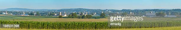 Lancaster County Farm Panorama with Corn Field and Mountains
