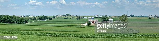 Lancaster County Farm with Lush Green Fields Panorama