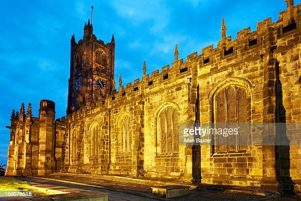 Lancaster Priory illuminated at night