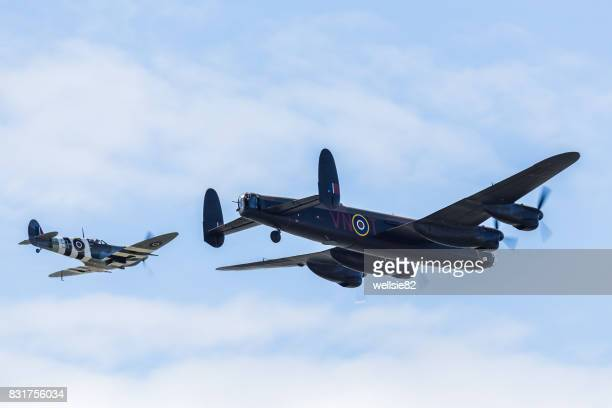 Lancaster with its fighter escort