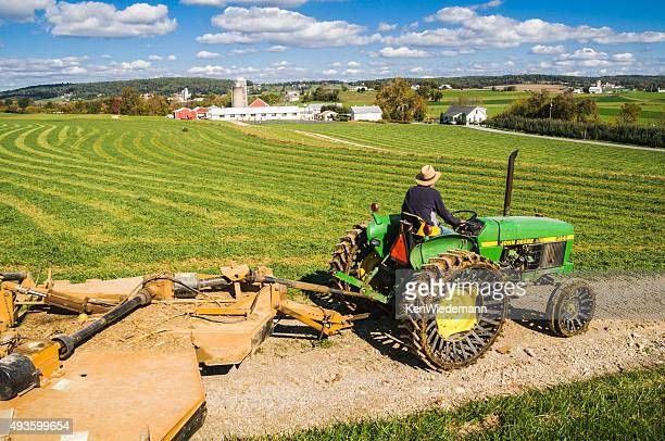 lancastercounty farmer - john deere tractor stock photos and pictures