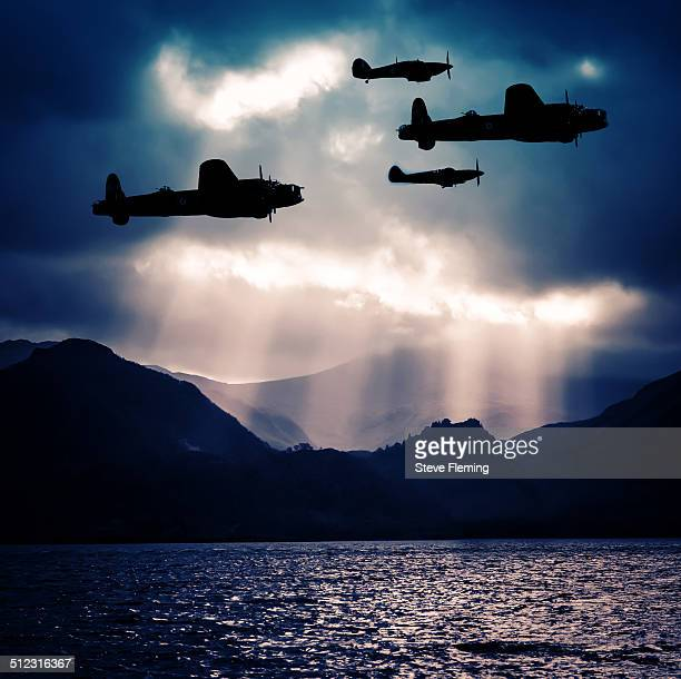 lancasters night ops - lancaster bomber stock pictures, royalty-free photos & images