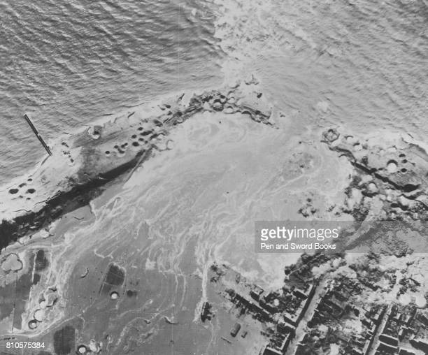 RAF Lancasters of bomber command on October 3rd carried out in daylight precision bombing attack on the great sea dyke near Westkapelle on the Dutch...