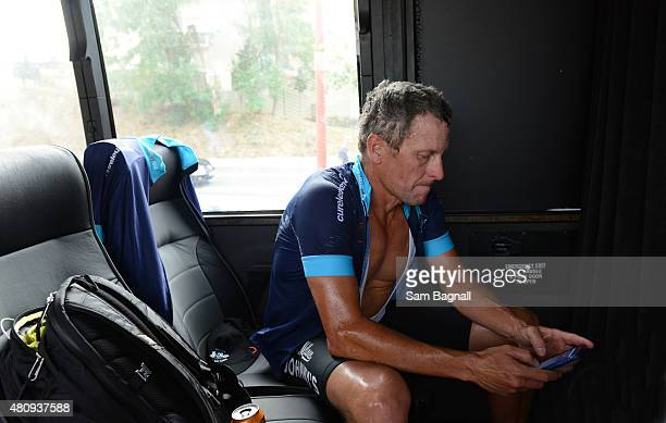 Lance Armstrong after completing stage thirteen of the One Day Ahead riding with Cure Leukaemia charity riders Le Tour 2015 on July 16 2015 in Rodez...