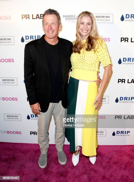 Lance Armstrong and Anna Hansen attend the Babes for Boobs live auction benefiting Susan G Komen LA at El Rey Theatre on June 7 2018 in Los Angeles...