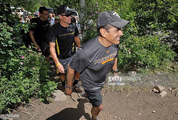 Lance Armstrong and Antonio Villaraigosa hike up the Ute Trail after Armstrong tweets his intent to climb the 22 mile trail during the Aspen...