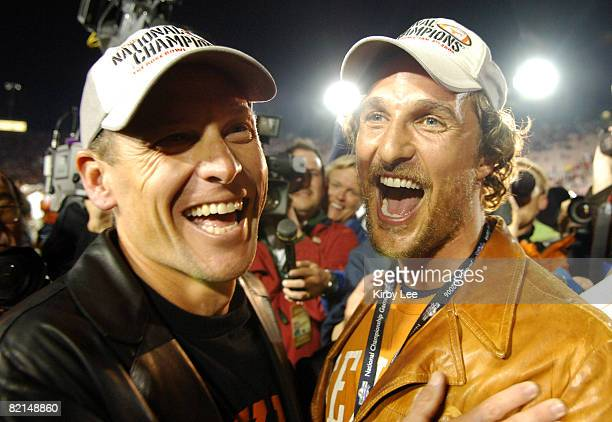 Lance Armstrong and Matthew McConaughey celebrate Texas' 4138 victory over USC in the BCS National Championship game at the Rose Bowl in Pasadena...