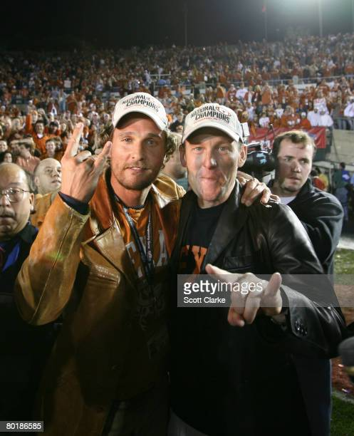 Lance Armstrong and Matthew McConaughey celebrate the Longhorns 41-38 defeat of USC to win the National Championship at the Rose Bowl in Pasadena,...