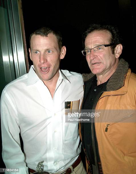 Lance Armstrong and Robin Williams leave the party
