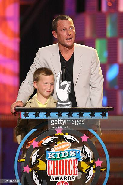 Lance Armstrong and son Luke during Nickelodeon's 19th Annual Kids' Choice Awards Show at Pauley Pavilion in Westwood California United States
