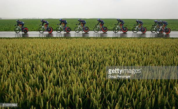 Lance Armstrong and the US Postal Team presented by Berry Floor competes in the Team Time Trial as they won Stage 4 of the Tour de France July 7 2004...