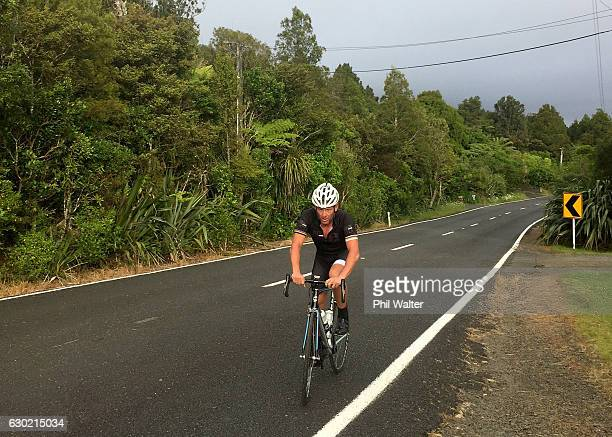 Lance Armstrong cycles with local cyclists during a ride in Auckland's Waitakere Ranges on December 19 2016 in Auckland New Zealand