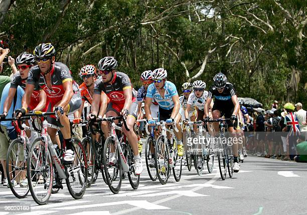 Lance Armstrong of America riding for Team RadioShack riding up Willunga Hill during stage five of the 2010 Tour Down Under January 23, 2010 in...