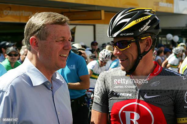 Lance Armstrong of America riding for Team RadioShack talking to South Australia Premier Mike Rann at the start of stage two of the 2010 Tour Down...