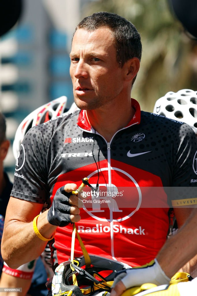 Lance Armstrong of Team Radio Shack waits for the start of the fourth stage of the Tour of California on May 19, 2010 in San Jose, California.