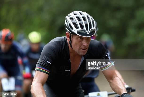 Lance Armstrong of the United States competes in Day 1 of the La Ruta de Los Conquistadores on November 1, 2018 in Jaco, Costa Rica. La Ruta de Los...