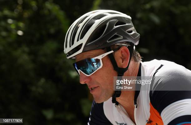 Lance Armstrong of the United States rides in the peloton during the rolling start on Day 3 of La Ruta de Los Conquistadores on November 3, 2018 in...