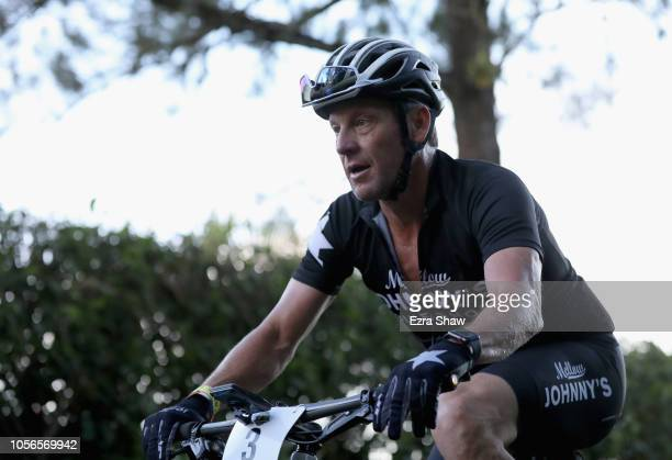 Lance Armstrong of the United States rides up a hill during day 2 of La Ruta de Los Conquistadores on November 2 2018 in Terramall Costa Rica La Ruta...
