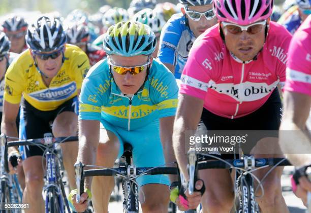 Lance Armstrong of the U.S. And Discovery Channel team, Alexandre Vinokourov of Kazakhstan and T-Mobile and teammate Jan Ullrich of Germany ride...