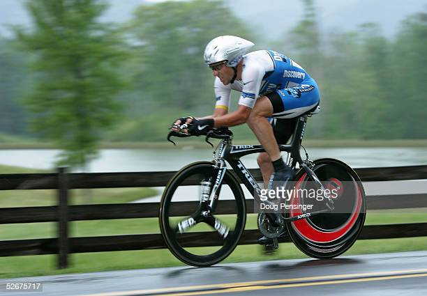 Lance Armstrong of the U.S. And riding for the Discovery Channel Pro Cycling Team rides in the individual time trial as he finished ninth during...