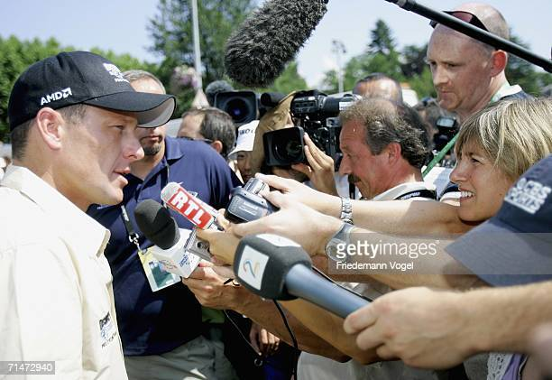 Lance Armstrong of the USA and Discovery talks to the media before Stage 15 of the 93rd Tour de France between Gap and L'Alpe d'Huez on July 18, 2006...