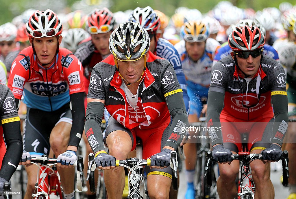Lance Armstrong (C) of the USA and riding for Radio Shack rides in the peloton with teammate Yaroslav Popovych (R) of the Ukraine and riding for Radio Shack and Andy Schleck (L) of Luxemburg and riding for Saxo Bank during Stage Two of the Tour of California from Davis to Santa Rosa on May 17, 2010 in Napa County, California.