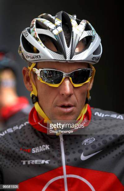 Lance Armstrong of the USA and riding for Team Radio Shack looks on as he pepares for a training ride in preparation for the 2010 Tour of California...