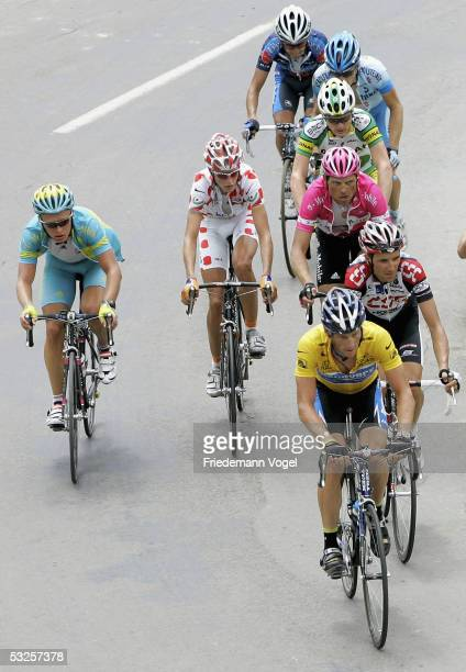 Lance Armstrong of the USA riding for the Discovery Channel cycling team leads the first group during the stage 16 of the 92nd Tour de France between...